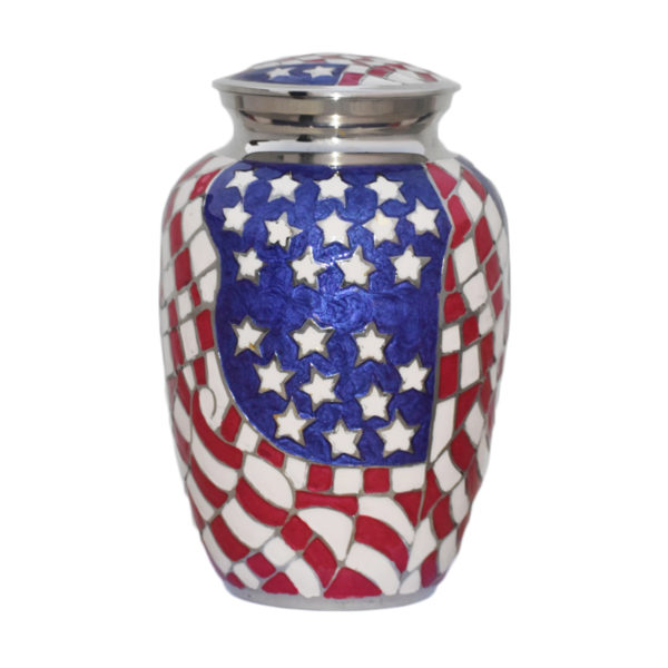 American flag themed cremation urn