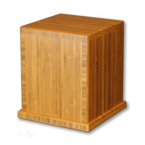 Caramel colored wood square cremation urn