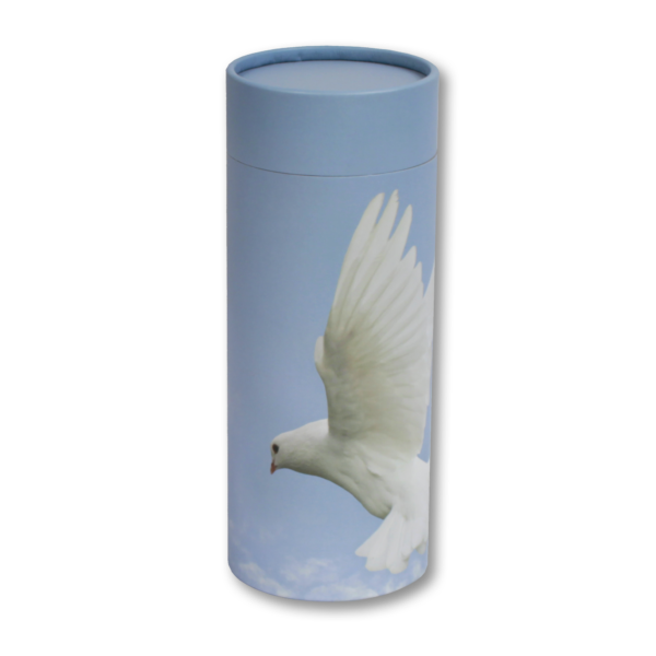 White dove cylindrical cremation urn