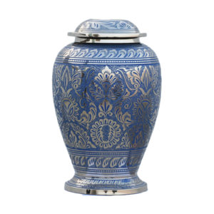 Blue and silver ornate cremation urn