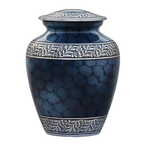 Blue cremation urn with silver accents