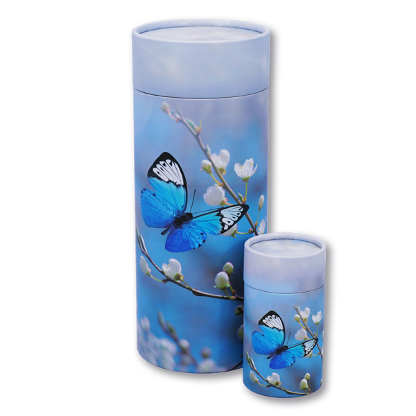 Blue butterfly cylindrical cremation urn
