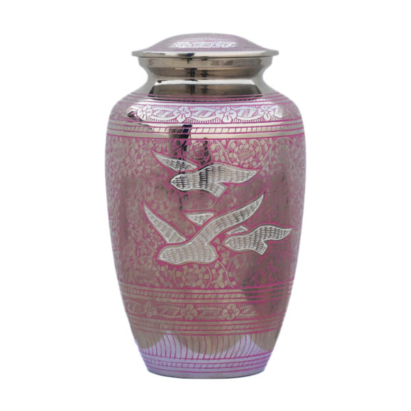 Pink and silver ornate cremation urn with doves