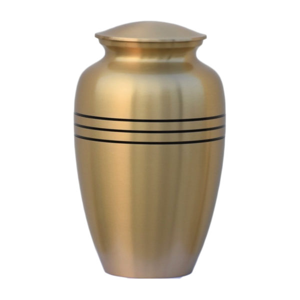 Gold cremation urn with with black stripes