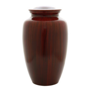 Aluminum cremation urn painted to look like wood