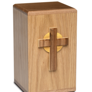 Wooden cremation urn with cross