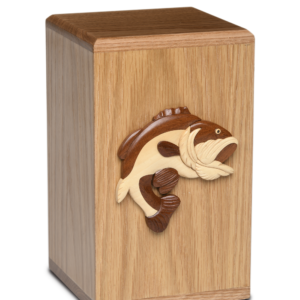 Wooden cremation urn with fish
