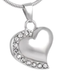 Heart of love necklace pendant cremation urn with clear stones