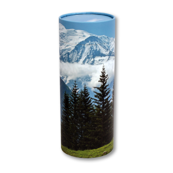 Trees and mountain view cylindrical cremation urn