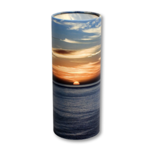 Ocean sunset cylindrical cremation urn