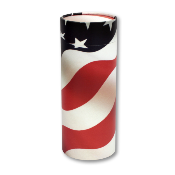 American flag cylindrical cremation urn