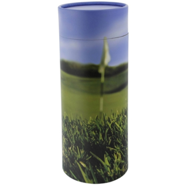 Golf cylindrical cremation urn