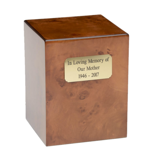 Burlwood square cremation urn with engraving