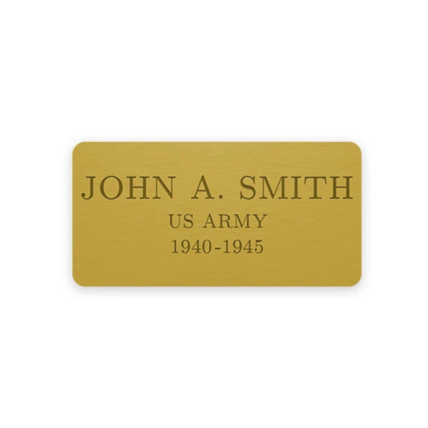 Gold engraving plate with sample engraving