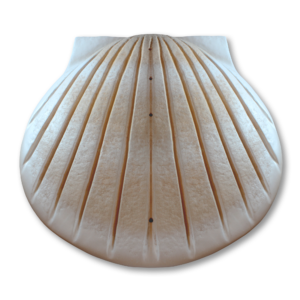 Tan and white shell-shaped water cremation urn