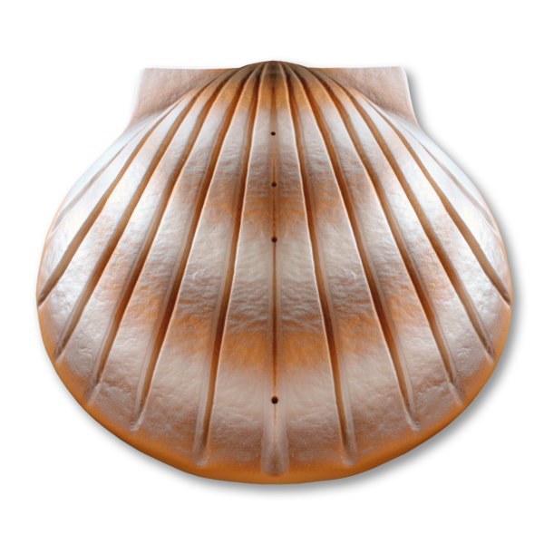 Orange and white shell-shaped water cremation urn