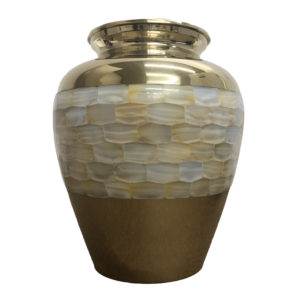 Gold pearl cremation urn